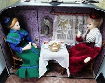 12th scale Diorama - Dollhouse Model - Tea Duel Scene - Porcelain Dolls in Tea Rooms - Victorian Room Box - Steampunk Room Box Scene