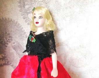 Dollhouse Doll 12th Scale - Porcelain Jointed Lady Figurine - OOAK Doll with Handmade Clothes - Steampunk Female Doll - Gift for Christmas