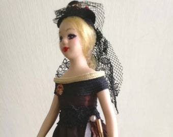 Female Dollhouse Doll 12th Scale - Steampunk Lady Porcelain Jointed Figure - Blonde Dolls' House Woman Doll - Collectors' OOAK Model Figure