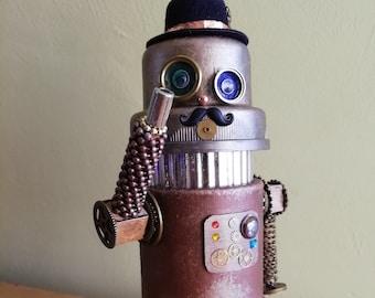 Steampunk Robot - Upcycled Model Robot - Junk Robot Ornament - Gift for Man - Geek Gift - Steampunk Gentleman Robot - OOAK Model