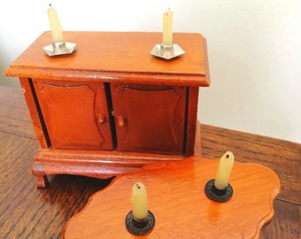 Pair of Miniature Candles in Candlesticks - Tiny Real Wax Candle Set - 2 Handmade 12th Scale Candles in Matching Holders