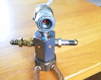 Model Steampunk Seated Robot - Sitting Robot with Flexible Legs - OOAK Metal Robot Figure - Upcycled Metal Model Sci-fi Robot