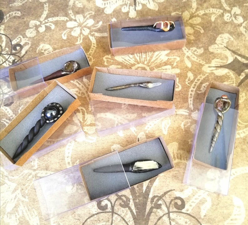 Miniature wand with crystal   Boxed handmade 12th scale wand image 3
