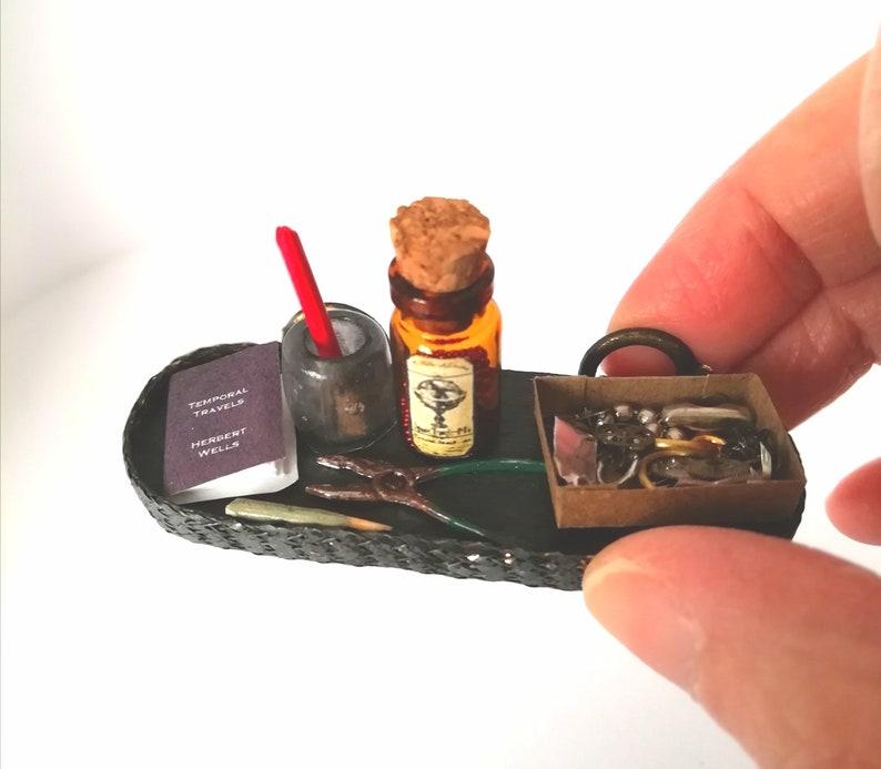 12th scale Steampunk Tinker's Shelf  Dollhouse Accessory image 0