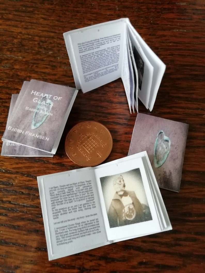 Steampunk 12th scale miniature book with full text various Heart of Glass