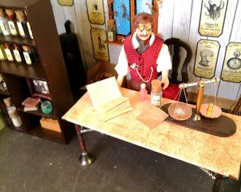 12th Scale OOAK Steampunk Roombox and Figure - Dollhouse Steampunk Apothecary room - Steampunk Dollshouse Room