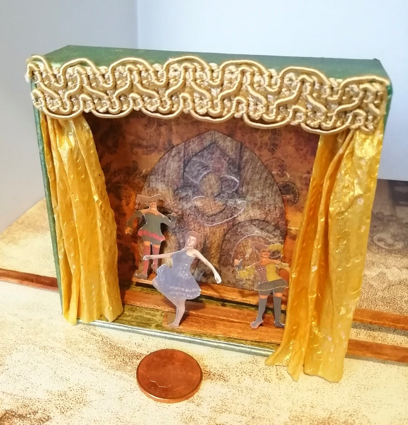 Tiny theatre  miniature stage with dancers  moving ballet image 3