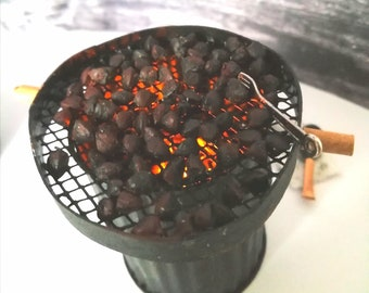 12th scale Roasting Chestnuts - Model Brazier and Roasted Chestnuts - Vintage Style Diorama - Traditional Roast Chestnuts Street Stall