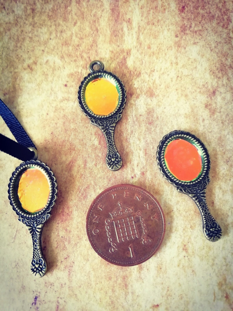 12th scale Holographic Hand Mirror  Steampunk Dollhouse bronze with top ring