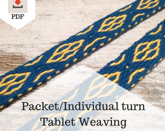 Packet - Individual turn tablet weaving instructions, learn how to weave decorative bands, pdf tutorial for intermediate weaving