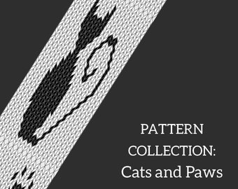 Cats and paws double face tablet weaving patterns collection, learn intermediate weaving, weaving diagram for decorative ribbon