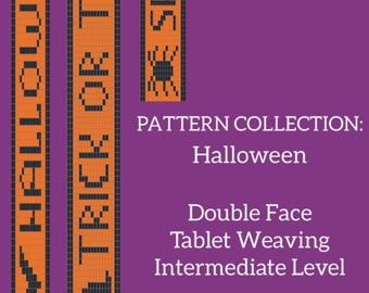 Halloween double face tablet weaving patterns collection, learn intermediate weaving, weaving diagram for decorative ribbon