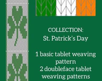 Saint Patrick's day tablet weaving patterns, 1 basic and 2 intermediate weaving diagram, weaving chart for luckye ribbon