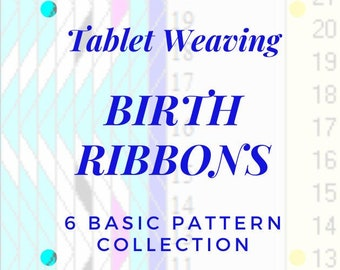 Birth ribbons tablet weaving patterns, basic chart to create colorful ribbons, DIY favors for baptism, immediate download pdf patterns