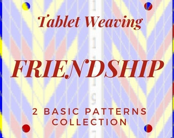 Friendship Tablet weaving patterns, basic chart to create colorful belts and decorative ribbons, immediate download pdf collection
