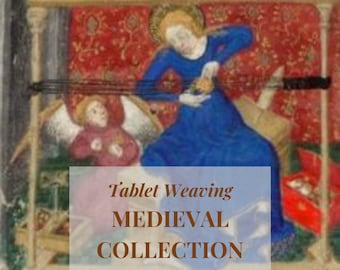 Medieval style tablet weaving patterns, basic and intermediate chart to create colorful belts and dress bordures for reenactors