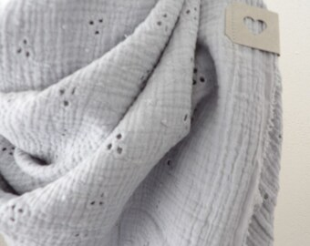 niciart Designer XXL Women'S CLOTH Mussel cloth Women's scarf Triangle cloth Scarf new! LIGHT GREY perforated embroidery 100% cotton double gauze