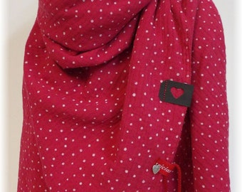 niciart Designer XXL Women's Women's Tuch Muslintuch Women's Scarf Triangle Scarf HIMBERROT red dots 100% cotton muslin double gauze