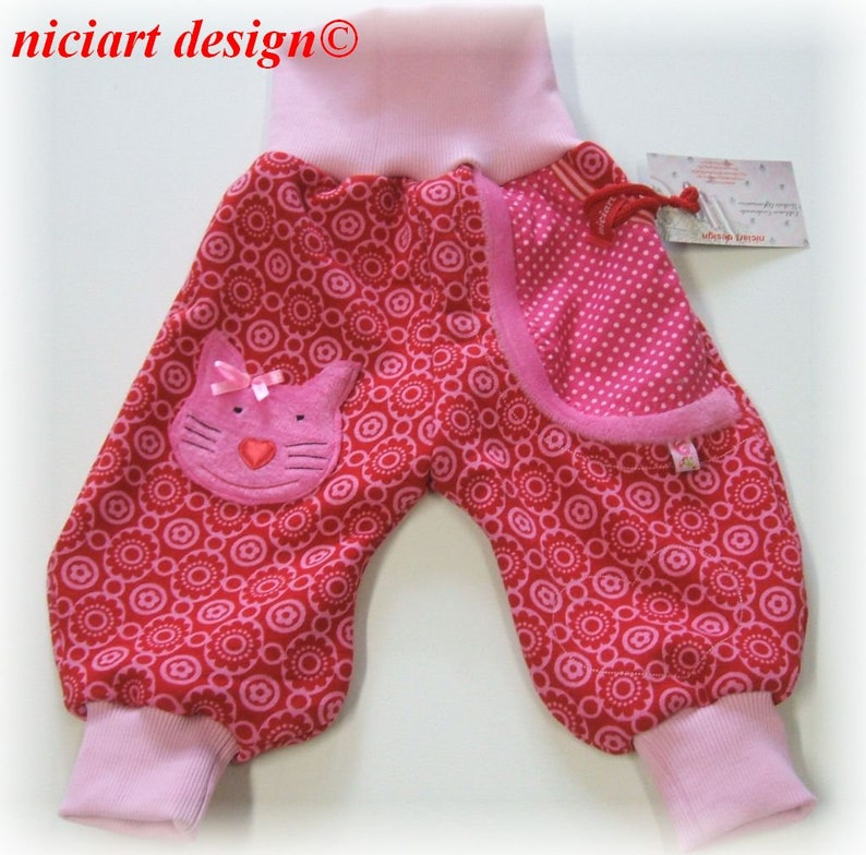 niciart Designer Winter Pumphose Baby /& Kinder Kuschelhose KATZE rot pink