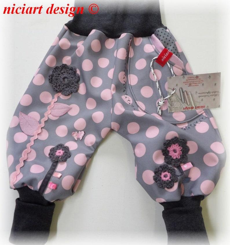 Niciart designer Softshellhose bottle trousers grey pink dots wonder flowers