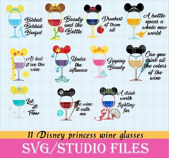 Disney Princess Wine Glass Drunk Princesses Disney Etsy