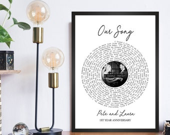 Personalised Anniversary Gift, Christmas Gift Custom Print Vinyl Record Print Song Lyrics | Xmas Gift for Wife Husband Girlfriend her him