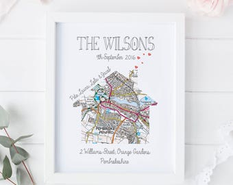 Map print, Map Housewarming Gift, Map Moving Gift, Personalised Moving Print, Personalised New Home Print