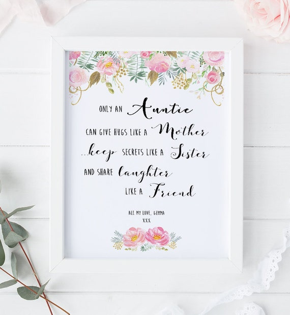 Auntie Poem Print Birthday Gift For Personalised