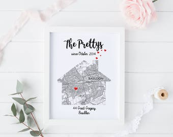 Personalised map print new home first house gift / house warming moving present