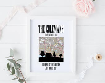 Personalised print new home / first house present / house warming moving gift
