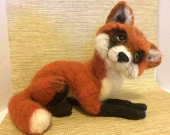 Friendly Fox needle felted wool sculpture