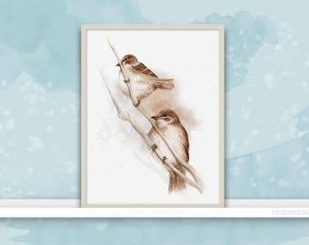 Sparrows {Birds of my heart} Watercolor Illustration & Painting + Digital Work Art Print