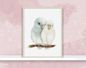 Parrotlets {Birds of my heart} Watercolor Illustration & Painting Art Print