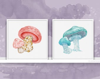 Pink & Blue Mushrooms { Garden of Magic Shrooms } Art Print