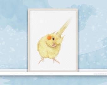 Cockatiel {Birds of my heart} Watercolor Illustration & Painting Art Print