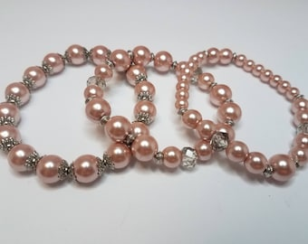 Stretch Bracelets Glass Pearls Varied Sizes