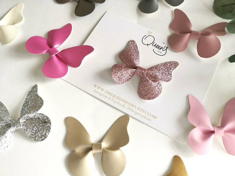 57d2658ab855f Butterfly Leather Glitter Hair Clip Bow Headband / Everyday hair clips /  Leather Bow / Metalic Leather / Small Bow Clip / Baby Girl Heaband