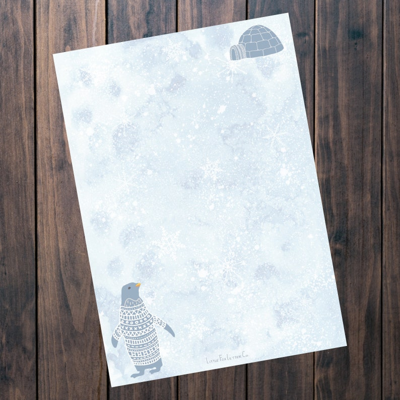Printable Stationery Paper Snowy Penguin Unlined Writing Paper Lined Igloo Memo Paper