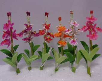 1:12 Scale Hand Made Orchid  Dolls House Garden Flower Accessory