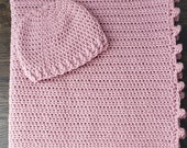 Crocheted Pink Baby Hat and Blanket with Pom Pom trim
