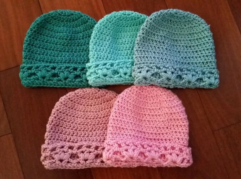 e09bea8d585 Crocheted Baby Hat Lacy Trim
