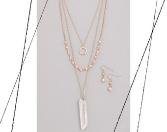 Rosey Crystal Necklace Set