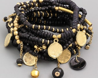 Onyx & Gold Beaded Stack
