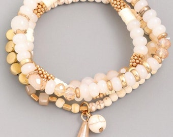 Ivory Beaded Stack