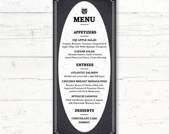 halloween menu card etsy