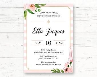 Bonjour bebe invite etsy parisian french baby shower or bridal shower printable invitation bonjour bebe french paris pink floral custom printable invite filmwisefo