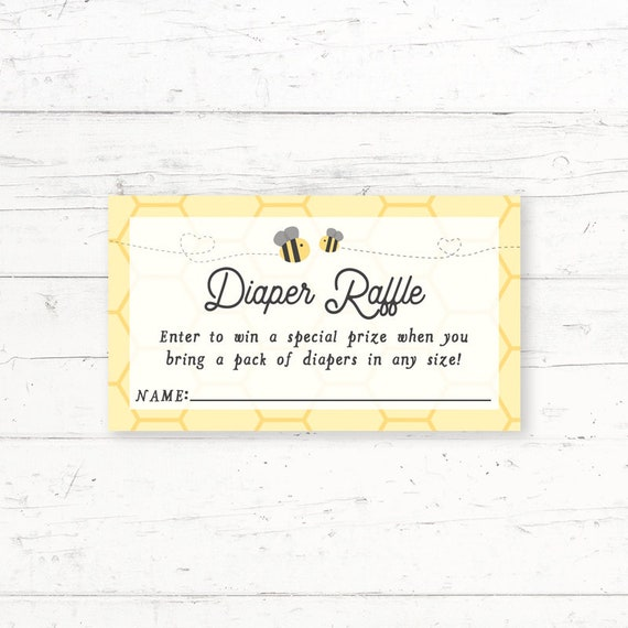 picture regarding Printable Diaper Raffle Tickets identified as Bumblebee Little one Shower Diaper Raffle Ticket, Printable Diaper Raffle Ticket, Fast Obtain