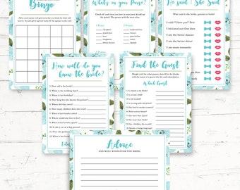 Hydrangea, Teal Floral, Blue Flowers, Bridal Shower, Games Package - 6 Games - Digital Printout - Instant Download