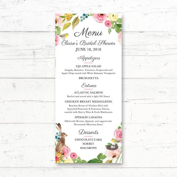 Easter Bunny Printable Menu Card Wedding Bridal Shower Etsy