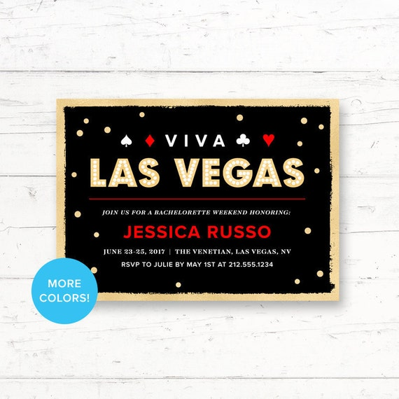 Las Vegas Bachelorette Party Printable Invitation Gold Etsy